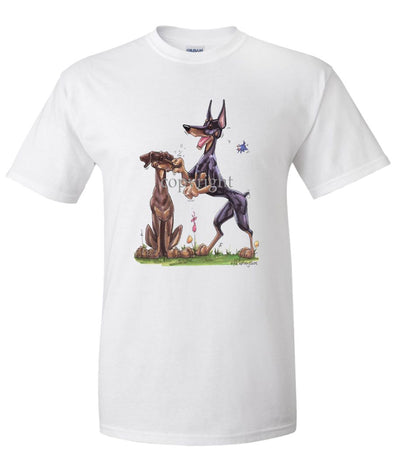 Doberman Pinscher - Group Pinching Nose - Caricature - T-Shirt