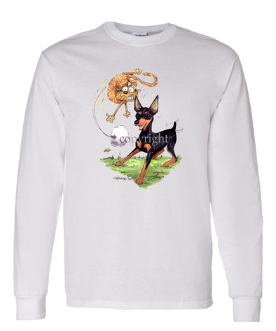 Miniature Pinscher - Chasing Cat - Caricature - Long Sleeve T-Shirt