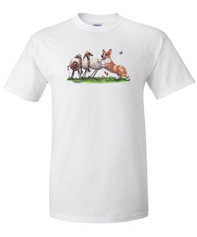Welsh Corgi Pembroke - Herding Sheep - Caricature - T-Shirt