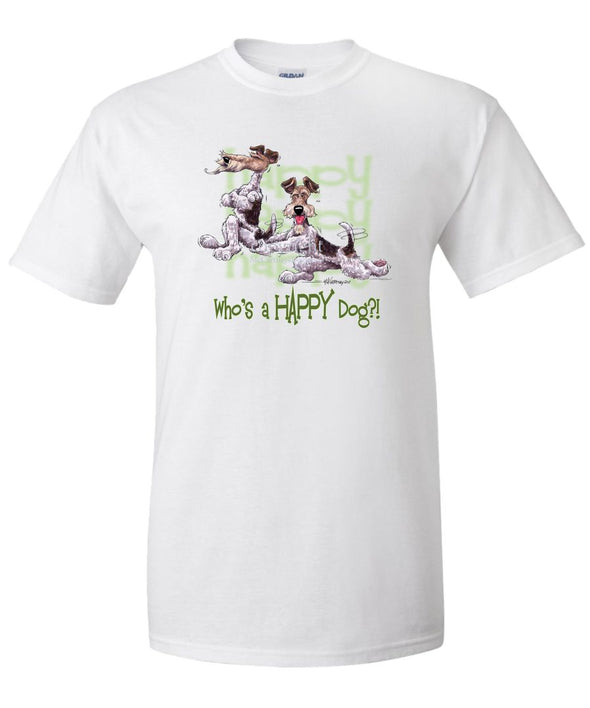 Wire Fox Terrier - Who's A Happy Dog - T-Shirt