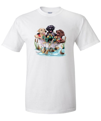 Labrador Retriever - Group In Boat - Caricature - T-Shirt