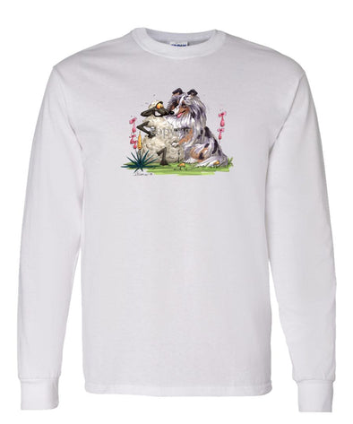 Shetland Sheepdog  Blue Merle - Hugging Sheep - Caricature - Long Sleeve T-Shirt
