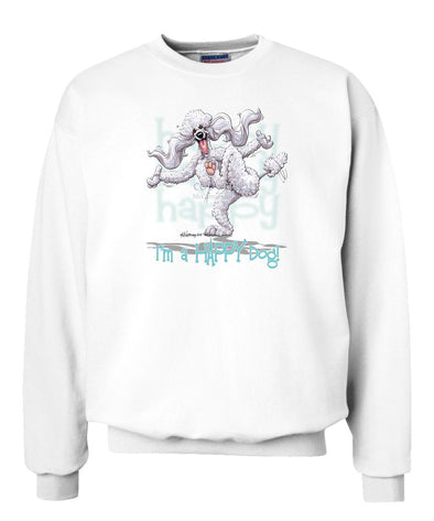 Poodle  White - 3 - Who's A Happy Dog - Sweatshirt