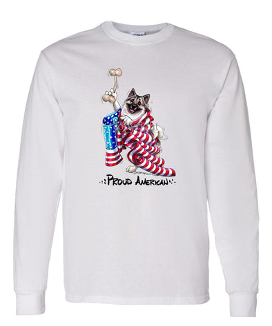 Norwegian Elkhound - Proud American - Long Sleeve T-Shirt