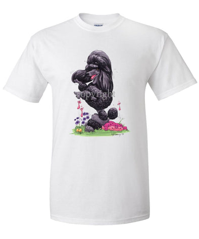 Poodle  Black - Sitting Pose - Caricature - T-Shirt