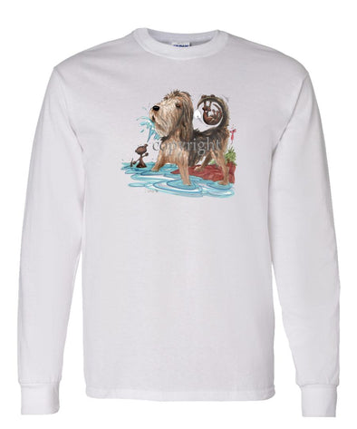Otterhound - Otter Squirting Water - Caricature - Long Sleeve T-Shirt