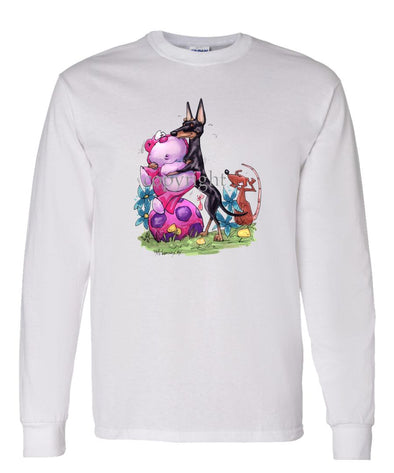 Manchester Terrier - With Toys - Caricature - Long Sleeve T-Shirt