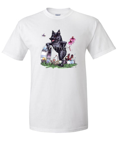 Schipperke - Standing With Dish - Caricature - T-Shirt