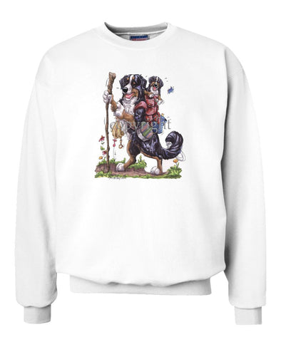 Bernese Mountain Dog - Hiking With Backpack - Caricature - Sweatshirt