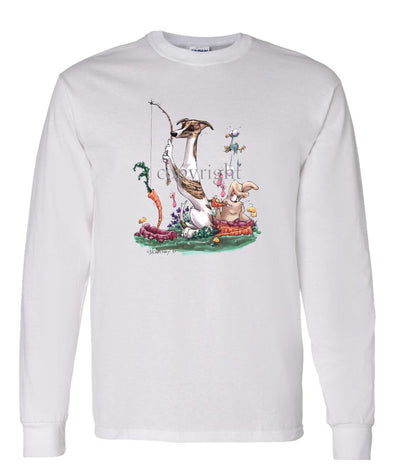 Whippet - Fishing With Carrot - Caricature - Long Sleeve T-Shirt