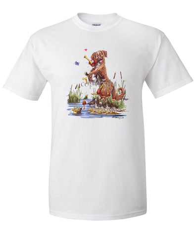 Nova Scotia Duck Tolling Retriever - Holding Duck - Caricature - T-Shirt