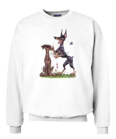 Doberman Pinscher - Group Pinching Nose - Caricature - Sweatshirt