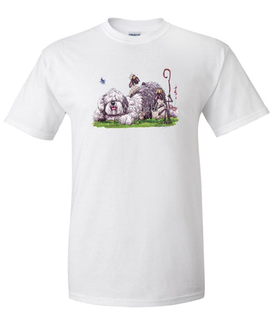 Old English Sheepdog - Laying Down With Sheep - Caricature - T-Shirt