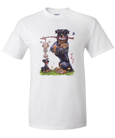 Rottweiler - Holding Branch Possum - Caricature - T-Shirt