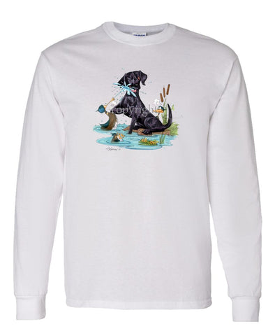 Labrador Retriever  Black - Duck Squirting - Caricature - Long Sleeve T-Shirt
