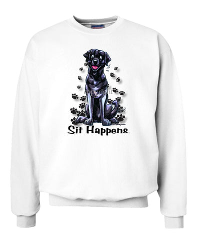 Labrador Retriever  Black - Sit Happens - Sweatshirt