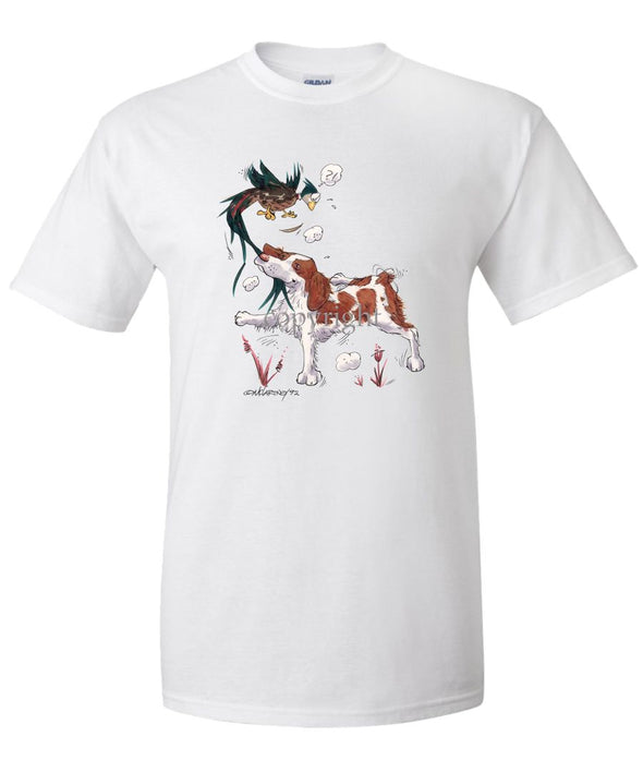 Brittany - Grabbing Pheasants Tail - Caricature - T-Shirt
