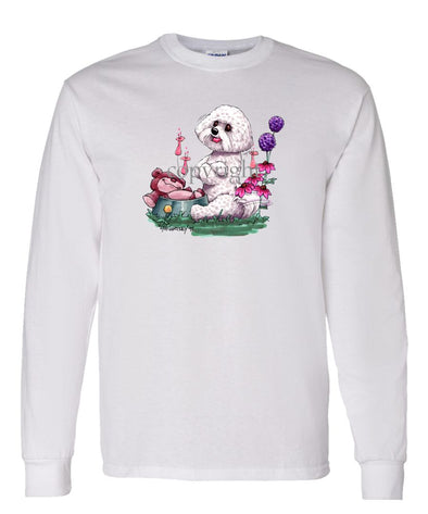 Bichon Frise - Toy Bear In Dish - Caricature - Long Sleeve T-Shirt
