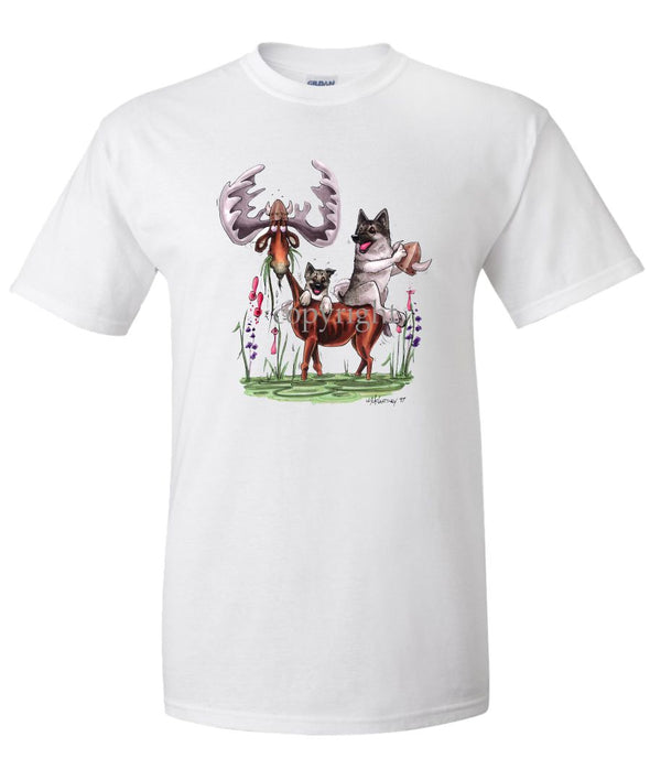 Norwegian Elkhound - Sitting On Moose - Caricature - T-Shirt