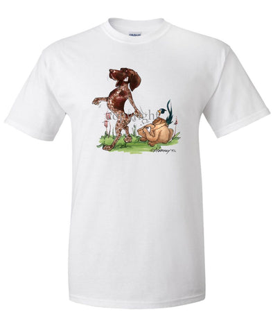 German Shorthaired Pointer - Pointing Pheasant Rabbit - Caricature - T-Shirt