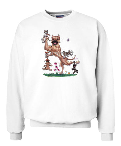 American Staffordshire Terrier - With Puppies - Caricature - Sweatshirt