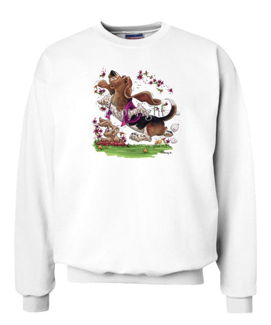 Basset Hound - Purple Vest Dancing In Flowers - Caricature - Sweatshirt