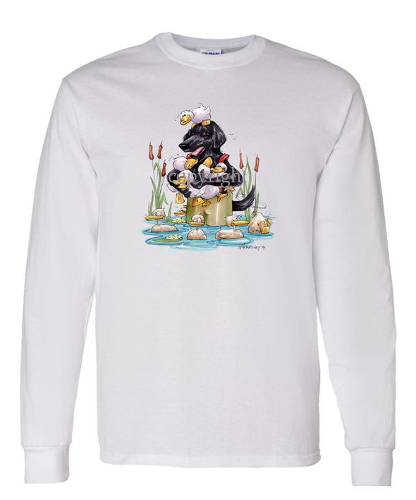 Flat Coated Retriever - Waders - Caricature - Long Sleeve T-Shirt