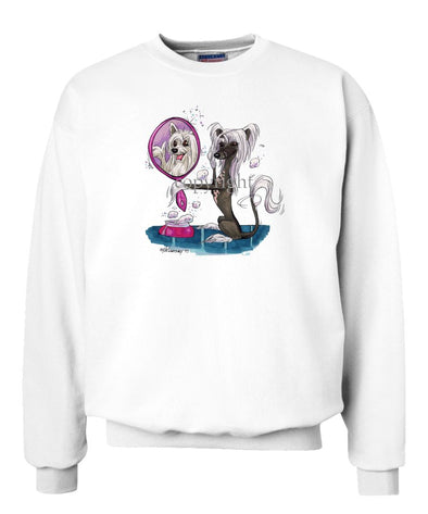 Chinese Crested - Looking In Mirror - Caricature - Sweatshirt
