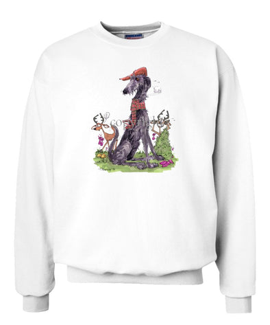 Scottish Deerhound - Hat Scarf Deer - Caricature - Sweatshirt