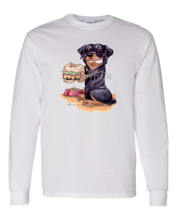Rottweiler - Cheesburger - Caricature - Long Sleeve T-Shirt