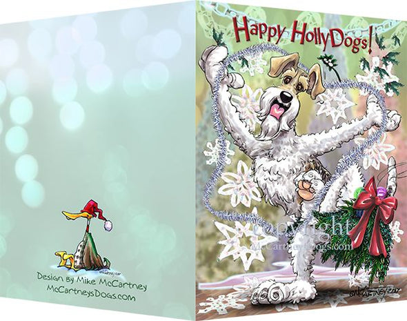 Wire Fox Terrier - Happy Holly Dog Pine Skirt - Christmas Card
