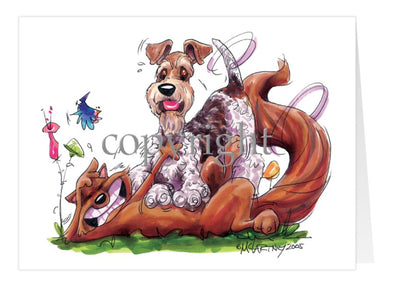 Wire Fox Terrier - Tickling Fox - Caricature - Card