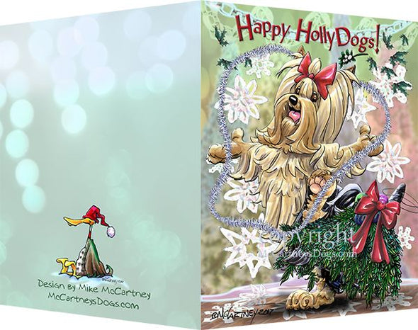Yorkshire Terrier - Happy Holly Dog Pine Skirt - Christmas Card