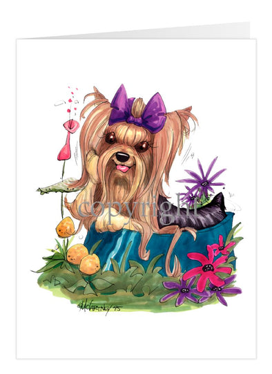 Yorkshire Terrier - In Dish Purple Ribbon - Caricature - Card