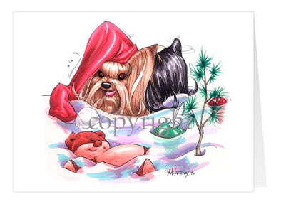 Yorkshire Terrier - Santa Hat - Christmas Card