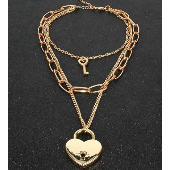 Heart Chain Lock Neclace