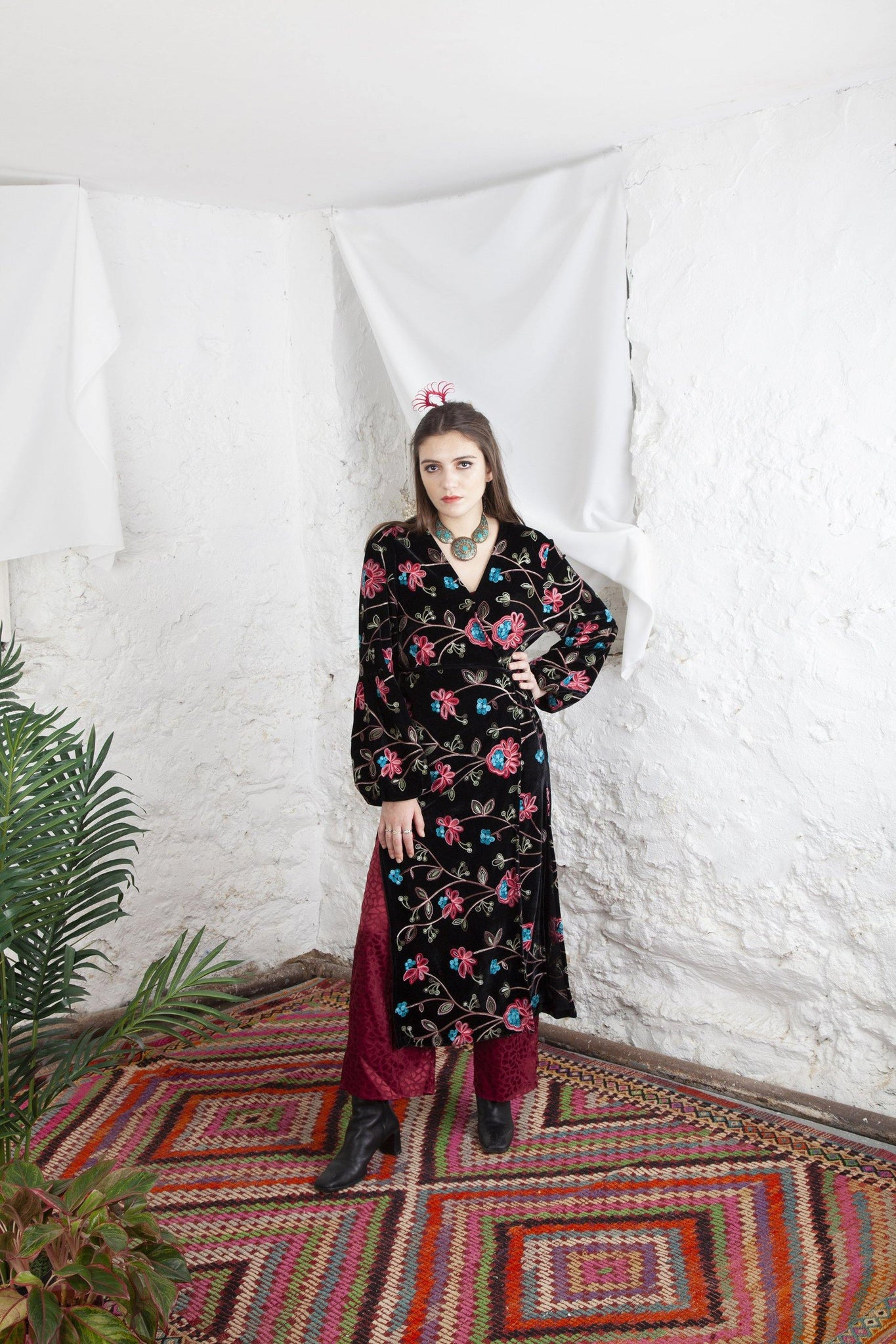 IVY BLOOM VELVET CAFTAN - oha