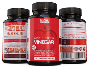 Full Strength Apple Cider Vinegar Capsules, 1250mg Servings, Weight Loss & Detox