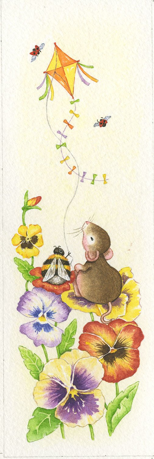 Mouse Kite and Pansies