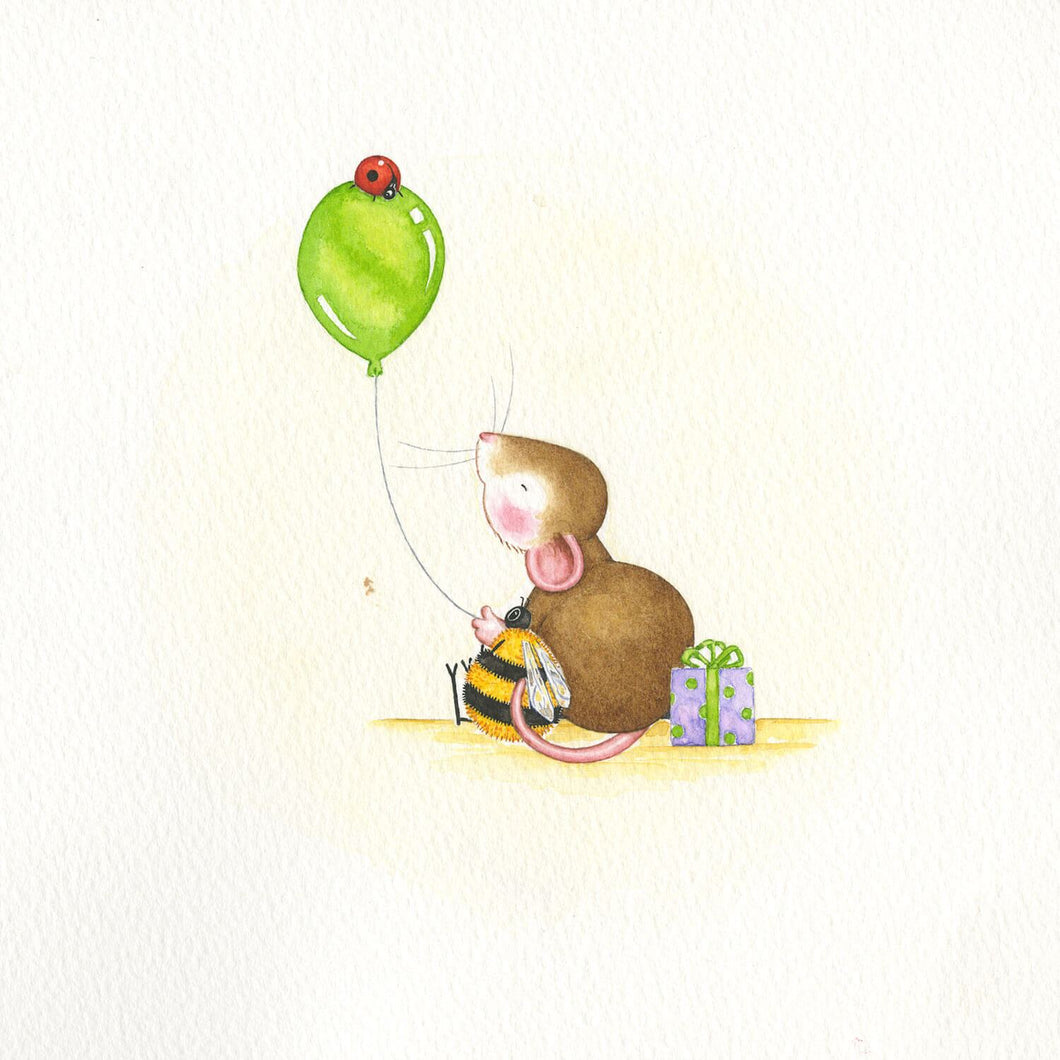 Mouse With Green Balloon and Ladybird