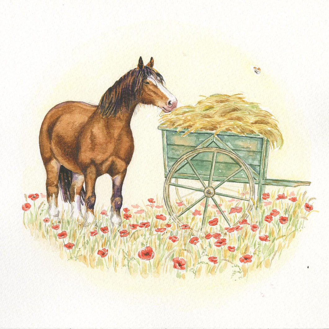 Horse and Cart in Poppies
