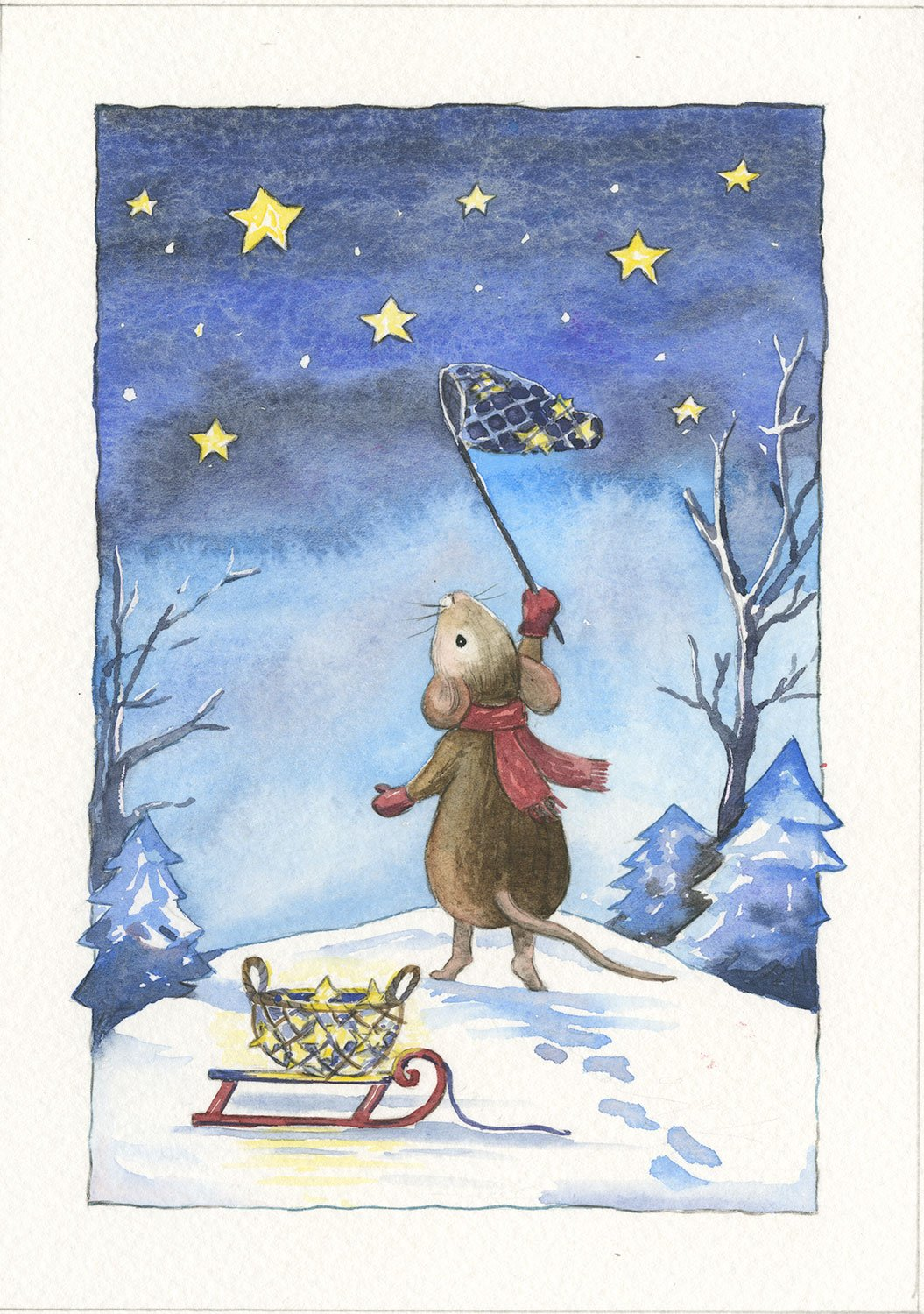 Mouse Catching Christmas Stars