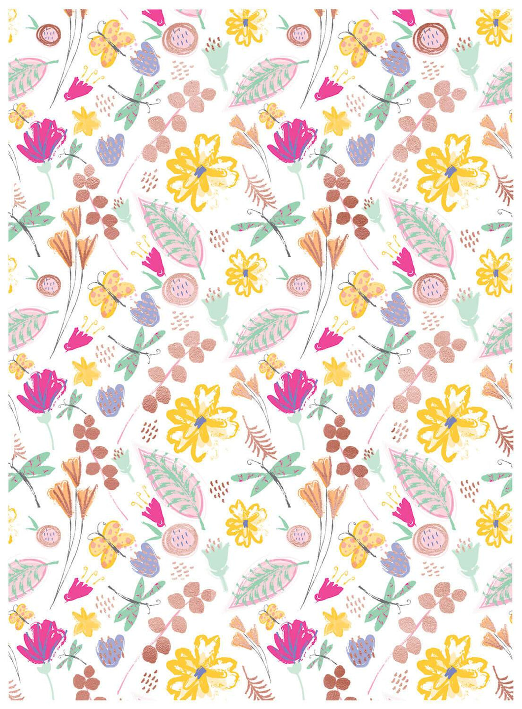 Bright Floral Birthday Wishes Wrapping Paper