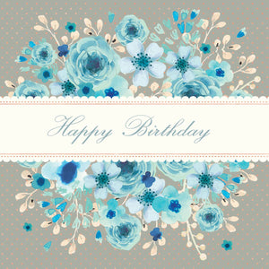 Happy Birthday Blue Watercolour Floral