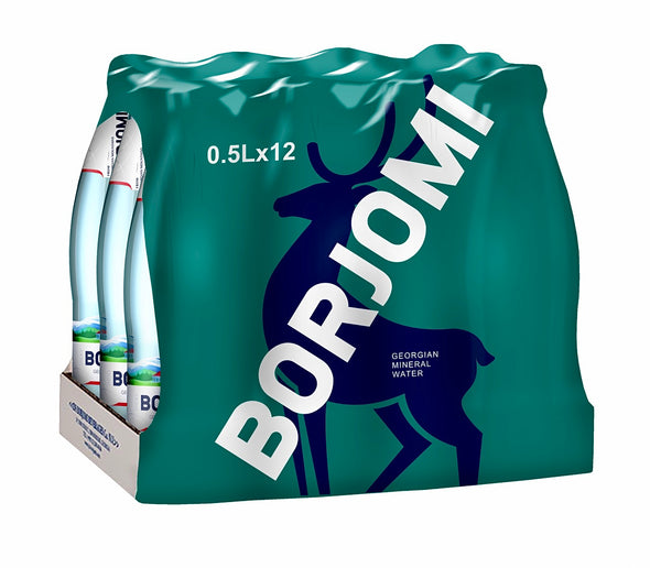 Borjomi Sparkling Georgian Mineral Water 0.5L (x12 Glass Bottles) - TAMADA
