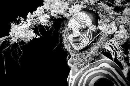 PHOTOGRAPH - ABEBE - SURI BOY WITH CROWN OF FLOWERS (BLACK & WHITE)