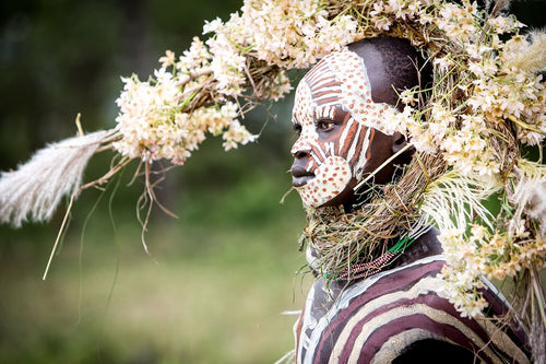 PHOTOGRAPH - ABEBE - SURI BOY WITH CROWN OF FLOWERS