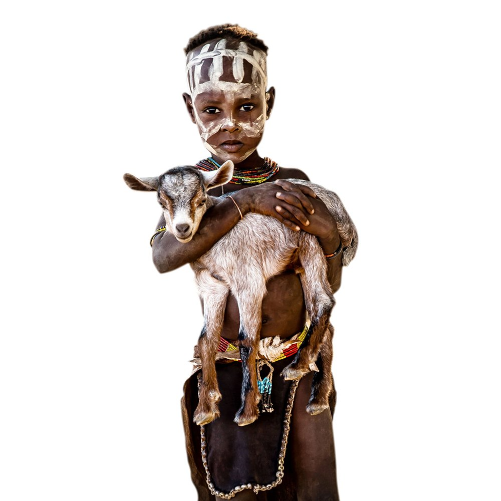 CANVAS - JONATHAN - LITTLE KARA BOY WITH BABY GOAT