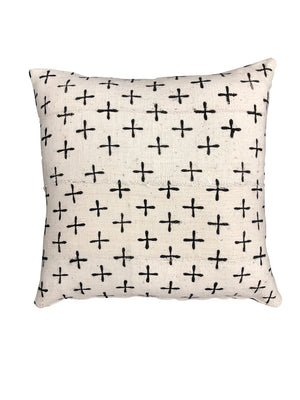 AUTHENTIC MUDCLOTH PRINT CUSHION - WHITE