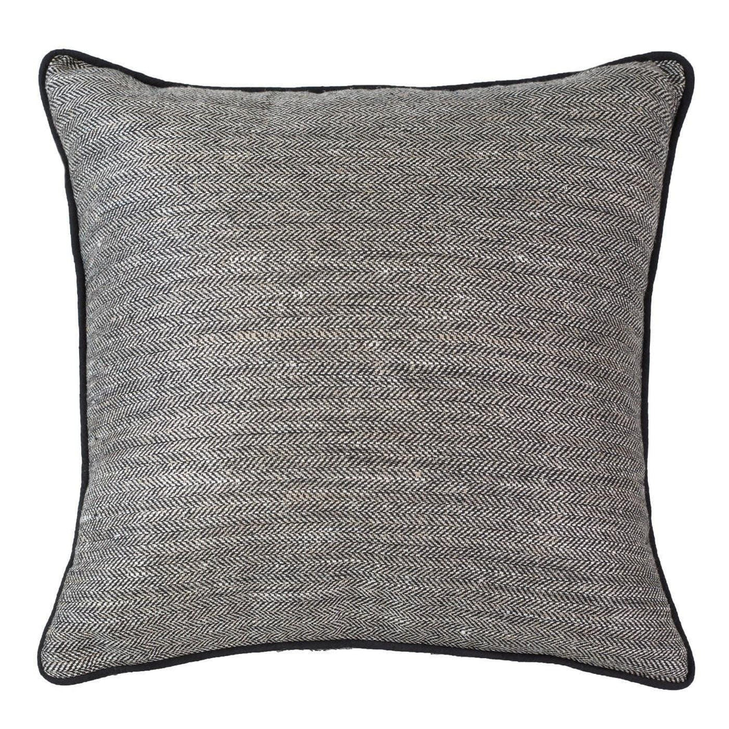 TWEED HERRINGBONE CUSHION - BLACK